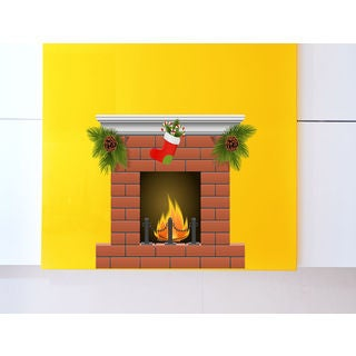 Christmas fireplace Full Color Decal, fireplace Full color sticker,colored Sticker Decal size 33x39