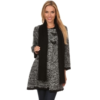 High Secret Women's Loose-fit Button-up Cardigan with Scarf
