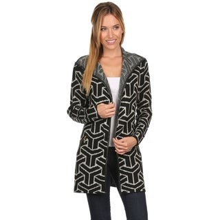 High Secret Women's Geometric-print Knit Zipper Pocket Detail Open-front Cardigan