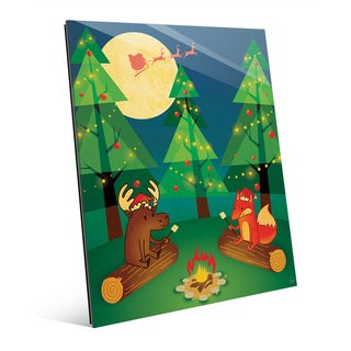 Camping Out for Santa Claus Wall Art on Glass