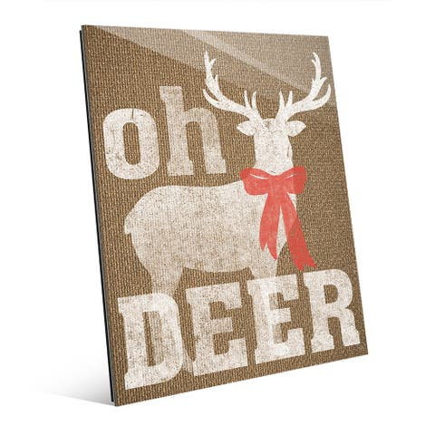 Oh Deer with Bow on Burlap Wall Art on Glass