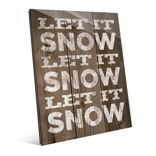 Let it Snow Christmas Greeting Wall Art on Glass