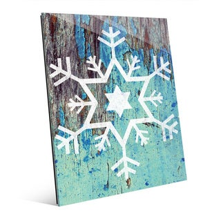 Star of David Snowflake in Blue Wall Art on Glass