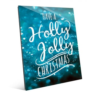 Holly Jolly Christmas in Blue Wall Art on Glass