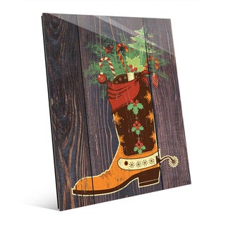 Cowboy Boot Stocking Stuffer Wall Art on Glass (2 options available)