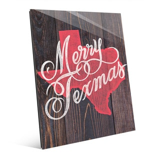 Merry Texmas in Red on Wood Wall Art on Glass