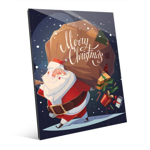 Merry Christmas - Santa's Gifts Wall Art on Glass
