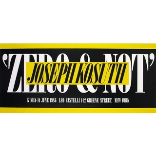 Joseph Kosuth 'Zero and Not' 1986 Lithograph Poster, 16 x 36 inches