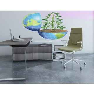 Globe tree Full Color Decal, Globe tree Full color sticker,colored Globe Sticker Decall size 48x65