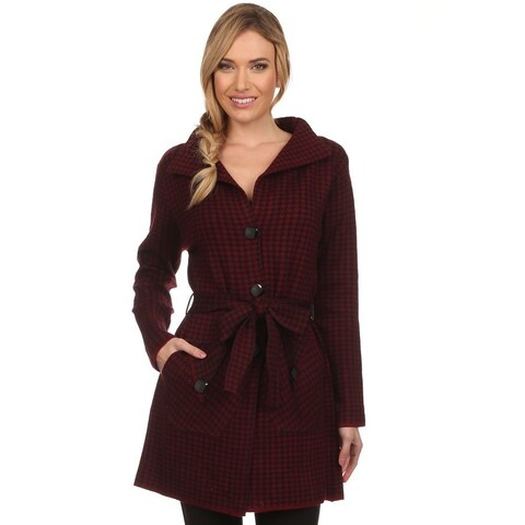 High Secret Women's Red and Black Cashmere Wool Hounstood Knit Pocketed Cardigan