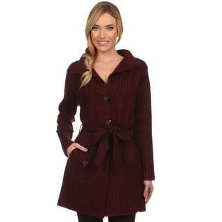 High Secret Women's Red and Black Cashmere Wool Hounstood Knit Pocketed Coat