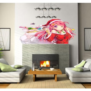 Santa Claus girl anime Full Color Decal, anime Full color sticker,colored Sticker Decal size 33x45