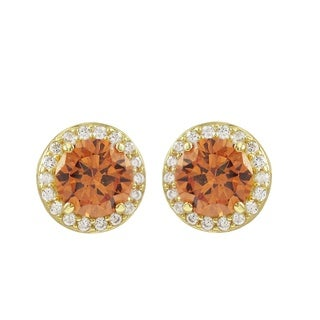 Luxiro Gold Finish Sterling Silver Amber Cubic Zirconia Halo Stud Earrings