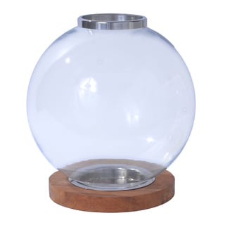 Brown Wood, Clear Glass, and Aluminum Globe Lantern