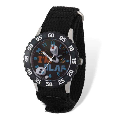 Disney Frozen Olaf Black Nylon Time Teacher Watch