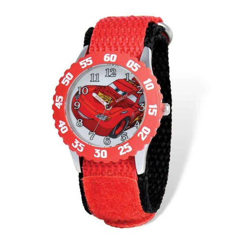 Disney Cars Lightning McQueen Red Nylon Time Teacher Watch