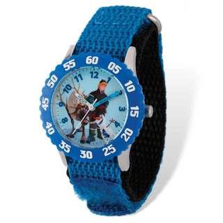 Disney Frozen Sven/Kristoff Blue Hook and Loop Band Time Teacher Watch