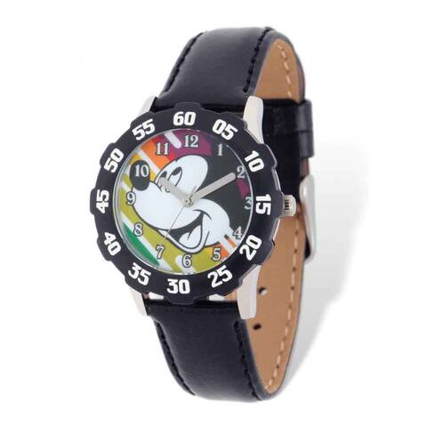 Disney Kids Mickey Mouse Black Leather Tween Watch