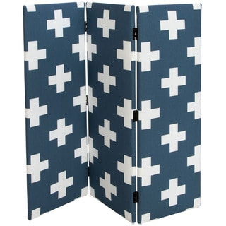 Large Swiss Cross Navy Skyline Furniture Kid's Screen