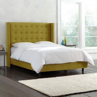 Green Skyline Furniture Tufted Wingback Bed in Velvet