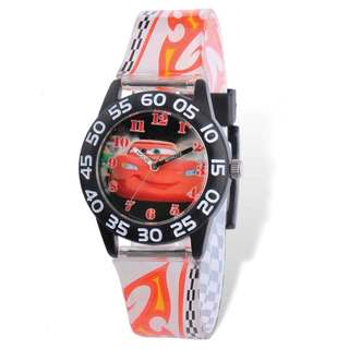 Disney Lightning McQueen Acrylic White Band Time Teacher Watch