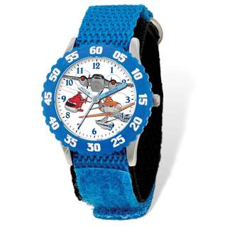 Disney Planes Blue Hook and Loop Band Time Teacher Watch