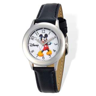 Disney Mickey Mouse Black Leather Tween Watch