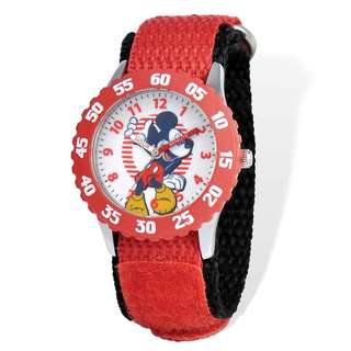 Disney Mickey Mouse Red Hook and Loop Time Teacher Watch