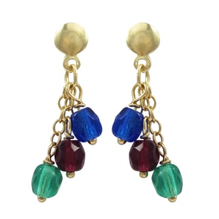 Luxiro Gold-filled Multi-color Beads Children's Dangle Earrings