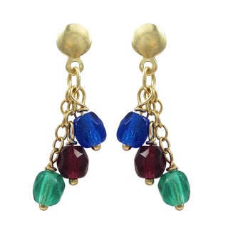 Luxiro Gold-filled Multi-color Beads Children's Dangle Earrings (2 options available)