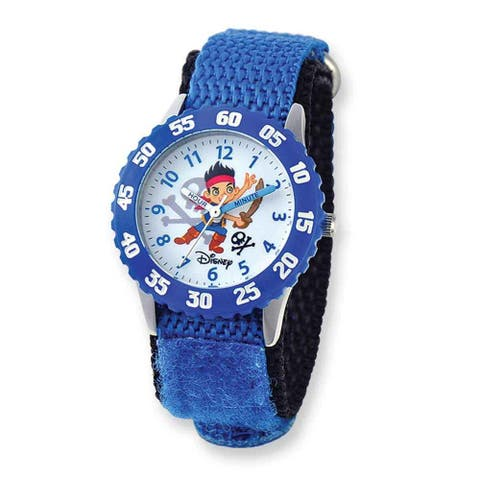 Disney Kids Jake and Pirates Blue Hook and Loop Band Time Teacher Watch