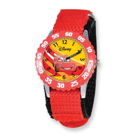 Disney Cars Lightning McQueen Red Hook and Loop Band Time Teacher Watch