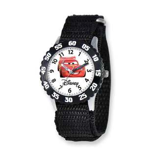 Disney Cars Lightning McQueen Black Hook and Loop Band Time Teacher Watch