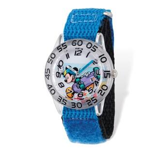Disney Kids Mickey Skateboard Blue Hook and Loop Band Time Teacher Watch