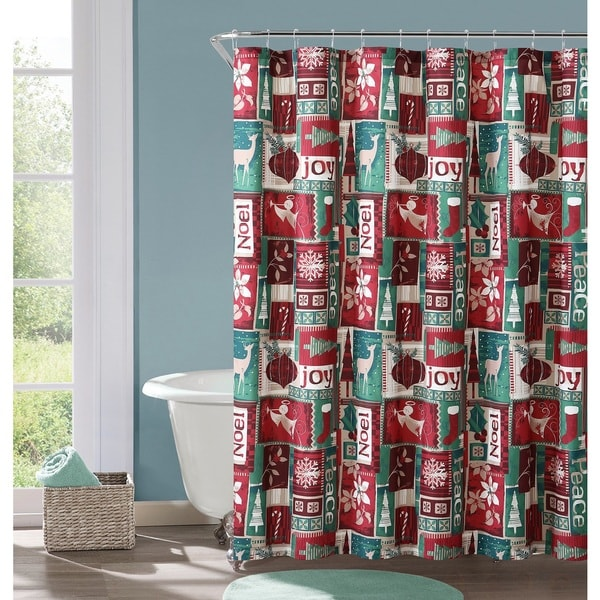 VCNY Home Holiday Patch Shower Curtain