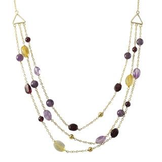 Luxiro Gold Finish Amethyst, Citrine, Garnet Semi-precious Gemstone Multi-strand Necklace