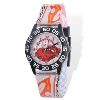 Disney Cars Acrylic Case White Printed Band Time Teacher Watch