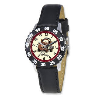Disney Cars Tow Mater Black Leather Band Time Teacher Watch