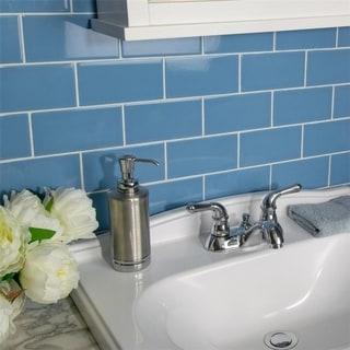 SomerTile 3x6-inch Malda Subway Glossy Calm Blue Ceramic Wall Tile (136/Case, 17 sqft.)