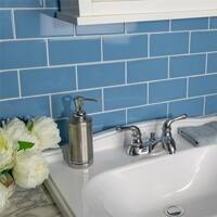SomerTile 3x6-inch Malda Subway Calm Blue Ceramic Wall Tile (136 tiles/19.18 sqft.)