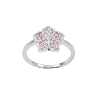 Luxiro Sterling Silver Pink Cubic Zirconia Flower Children's Ring