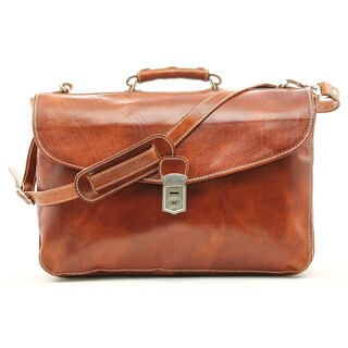 Alberto Bellucci Milano Italian Leather Tuscany Large Flap Lock Triple Compartment 17-inch Laptop Briefcase