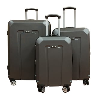 Kemyer Brown ABS Lightweight 3-piece Hardside Spinner Luggage Set
