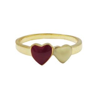 Luxiro Gold Finish Sterling Silver Red and White Enamel Heart Children's Ring