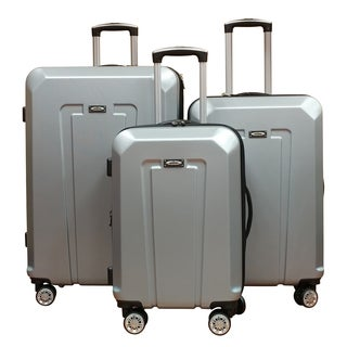 Kemyer Silver ABS Lightweight 3-piece Hardside Spinner Luggage Set