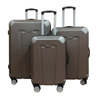 Kemyer Grey ABS Lightweight 3-Piece Hardside Spinner Luggage Set