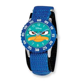 Disney Phineas & Ferb Kids Perry Blue Hook and Loop Band Time Teacher Watch