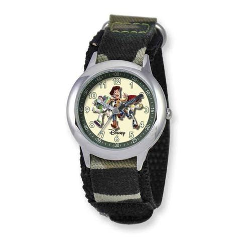 Disney Toy Story Kids Camo Hook and Loop Band Time Teacher Watch - White