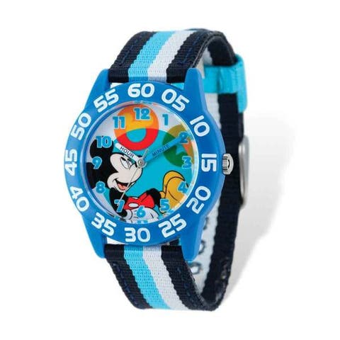 Disney Kids Mickey Mouse Striped Acrylic Time Quartz Movement Teacher Watch - Multi