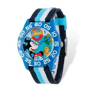 Disney Kids Mickey Mouse Striped Acrylic Time Teacher Watch